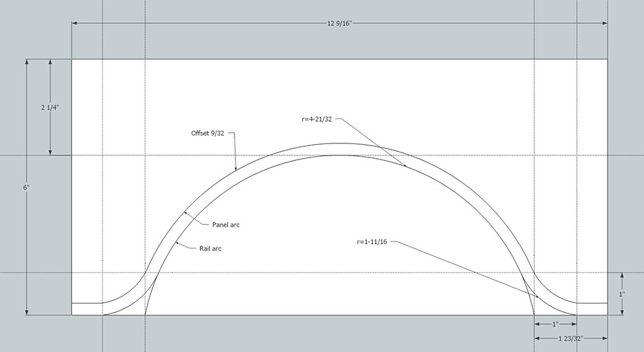 Making cathedral arch templates for cabinet doors using for Raised panel door templates