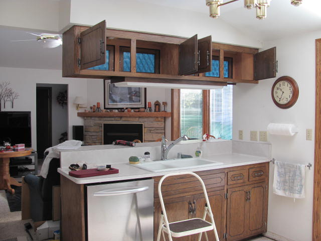 remove kitchen cabinet - removing uppers above the sink