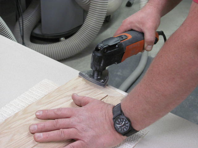 Sanding panel end grain